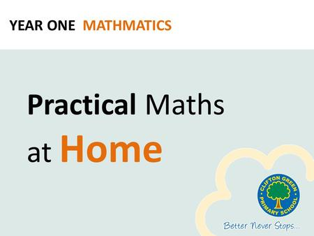 YEAR ONE MATHMATICS Practical Maths at Home. Why do maths at home? Children learn that maths is used in everyday life Being comfortable allows for deep-level.