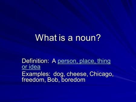 nouns that describe chicago Types of nouns directions: decide whether each noun is singular or plural, common or proper, and concrete or abstract  chicago: singular, proper, concrete  10.