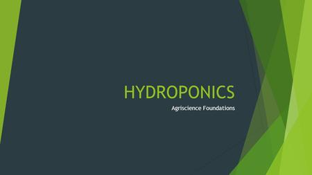 HYDROPONICS Agriscience Foundations. Essential Question: What is hydroponics?  Objectives: 1. Explain the meaning and importance of hydroponics. 2. Discuss.
