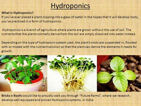 Hydroponics What is Hydroponics? If you've ever placed a plant clipping into a glass of water in the hopes that it will develop roots, you've practiced.