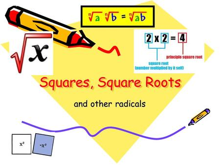 Squares, Square Roots and other radicals.