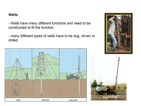Wells - Wells have many different functions and need to be constructed to fit the function - many different types of wells have to be dug, driven or drilled.