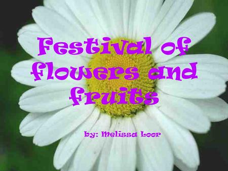 Festival of flowers and fruits by: Melissa Loor * This festival is celebrated the same day of the carnival in Ambato, a city in Ecuador.