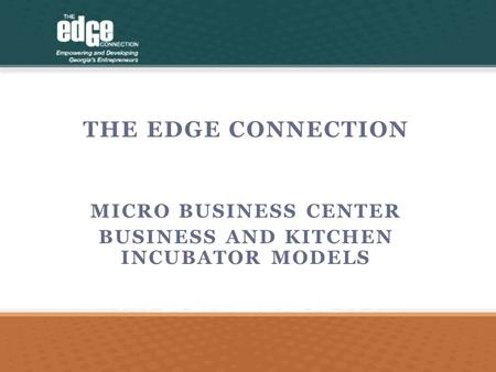THE EDGE CONNECTION MICRO BUSINESS CENTER BUSINESS AND KITCHEN INCUBATOR MODELS.