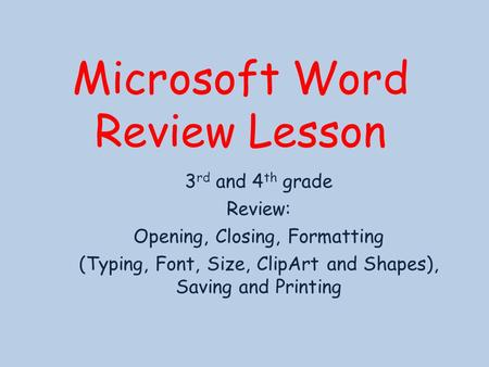 Microsoft Word Review Lesson