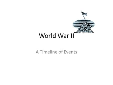 "World War II A Timeline of Events. Timeline 1922 – Mussolini becomes dictator in Italy. He is known as ""Il Duce"""