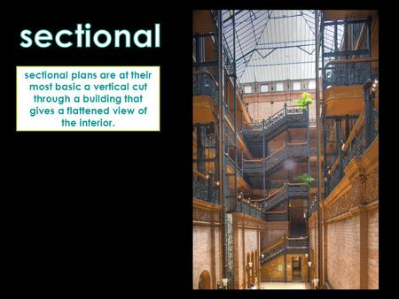 Sectional plans are at their most basic a vertical cut through a building that gives a flattened view of the interior.