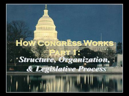 How Congress Works Part 1:. Overview 9/22 Introduction to Congress/Patriot Act Response 9/23 Congress 9/24 Reading Quiz 9/25 OFF 9/26 Congress 9/29 Political.