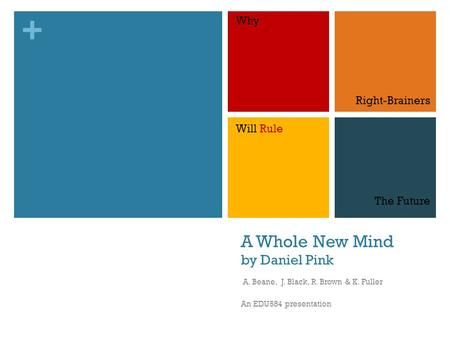 + A Whole New Mind by Daniel Pink A. Beane, J. Black, R. Brown & K. Fuller An EDU584 presentation Why Right-Brainers Will Rule The Future.