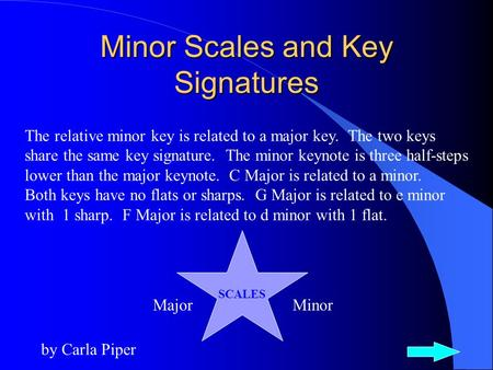 Minor Scales and Key Signatures by Carla Piper The relative minor key is related to a major key. The two keys share the same key signature. The minor.