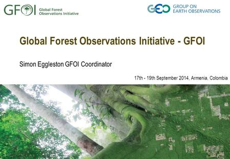 Global Forest Observations Initiative - GFOI Simon Eggleston GFOI Coordinator 17th - 19th September 2014, Armenia, Colombia.