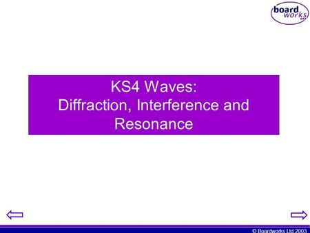 KS4 Waves: Diffraction, Interference and Resonance