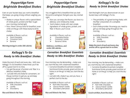 Pepperidge Farm Brightside Breakfast Shakes Even on your busiest days you want a breakfast that keeps you going strong without weighing you down. Shakes.