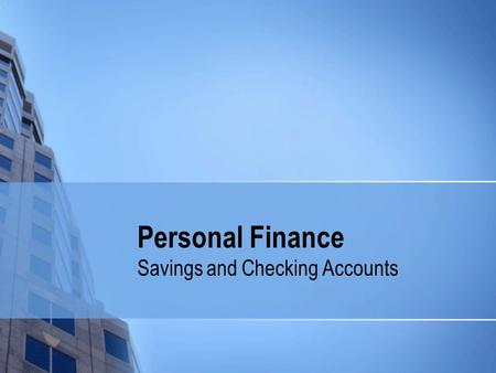 Personal Finance Savings and Checking Accounts. How Banks (Do Not) Work Banks do not hold all of our money when we deposit it.
