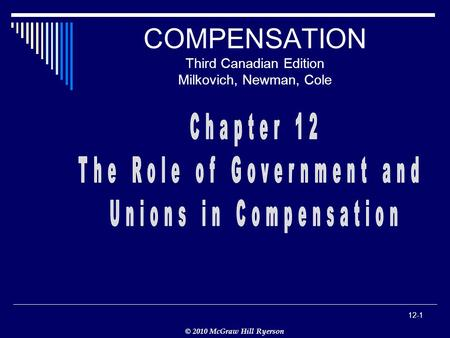 © 2010 McGraw Hill Ryerson 12-1 COMPENSATION Third Canadian Edition Milkovich, Newman, Cole.