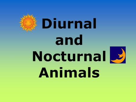 Diurnal and Nocturnal Animals. Diurnal Animals Diurnal is a tricky word! Let's all say that word together. Diurnal [dahy-ur-nl] A diurnal animal is an.