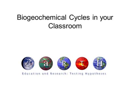 Biogeochemical Cycles in your Classroom. Summary Students will discover and discuss the component pieces of the biogeochemical cycle. Key Concepts Matter.
