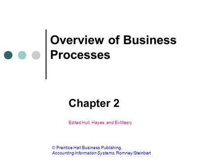 Overview of Business Processes Chapter 2 Edited Hull, Hayes, and El-Masry © Prentice Hall Business Publishing, Accounting Information Systems, Romney/Steinbart.