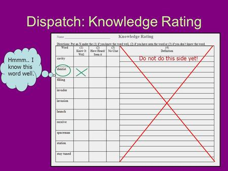 Dispatch: Knowledge Rating Do not do this side yet! Hmmm.. I know this word well.