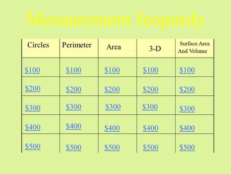 Measurement Jeopardy CirclesPerimeter Area 3-D Surface Area And Volume $100 $200 $300 $400 $500 $100 $200 $300 $400 $500.