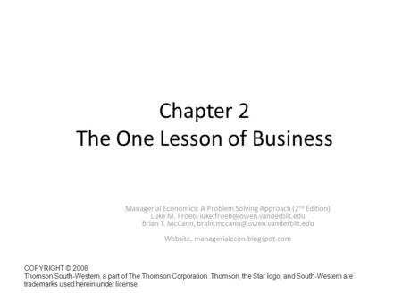 Chapter 2 The One Lesson of Business