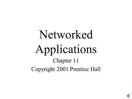 Networked Applications Chapter 11 Copyright 2001 Prentice Hall.
