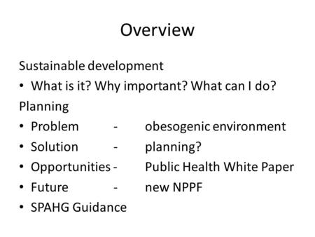Overview Sustainable development