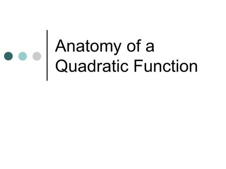 Anatomy of a Quadratic Function. Quadratic Form Any function that can be written in the form Ax 2 +Bx+C where a is not equal to zero. You have already.