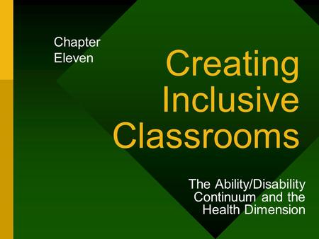 Creating Inclusive Classrooms The Ability/Disability Continuum and the Health Dimension Chapter Eleven.