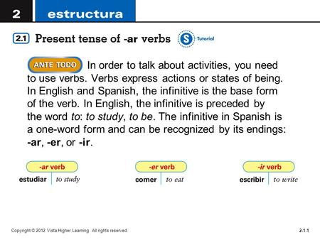 Copyright © 2012 Vista Higher Learning. All rights reserved.2.1-1 In order to talk about activities, you need to use verbs. Verbs express actions or states.