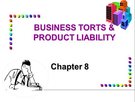 business torts and product liability Product liability is the area of law in which manufacturers, distributors, suppliers, retailers, and others who make products available to the public are held responsible for the injuries those products cause.