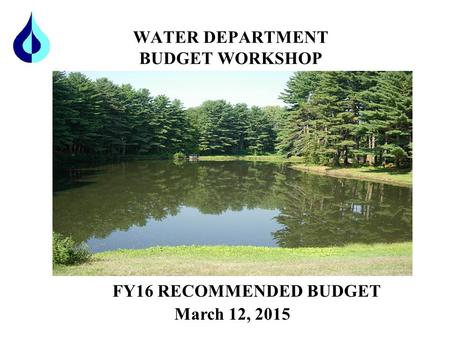 WATER DEPARTMENT BUDGET WORKSHOP FY16 RECOMMENDED BUDGET March 12, 2015.