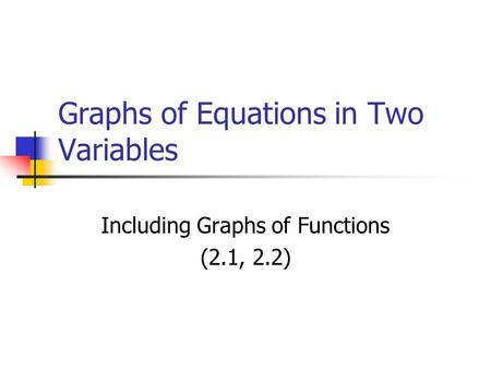 Graphs of Equations in Two Variables Including Graphs of Functions (2.1, 2.2)