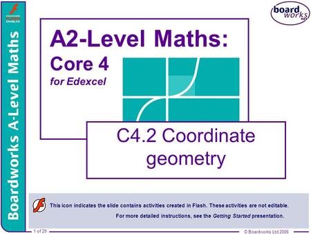 © Boardworks Ltd 2006 1 of 29 © Boardworks Ltd 2006 1 of 29 A2-Level Maths: Core 4 for Edexcel C4.2 Coordinate geometry This icon indicates the slide contains.