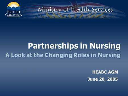 Partnerships in Nursing A Look at the Changing Roles in Nursing June 20, 2005 HEABC AGM.