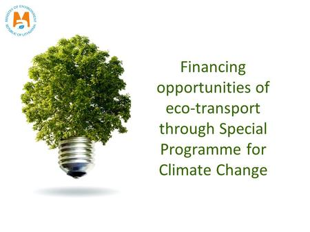 Financing opportunities of eco-transport through Special Programme for Climate Change.