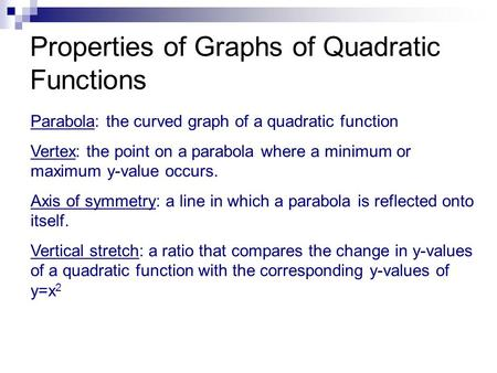 Properties of Graphs of Quadratic Functions
