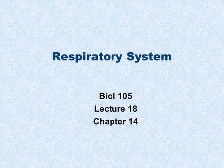 Respiratory System Biol 105 Lecture 18 Chapter 14.