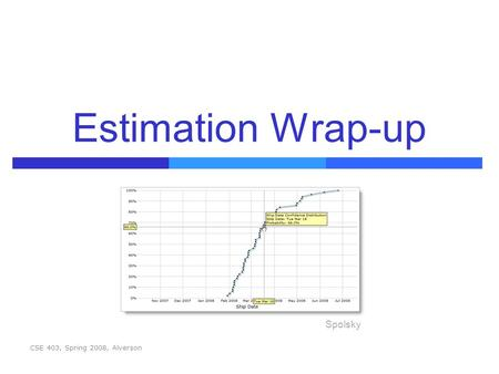 Estimation Wrap-up CSE 403, Spring 2008, Alverson Spolsky.