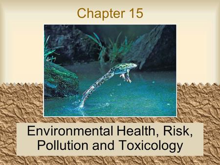 Chapter 15 Environmental Health, Risk, Pollution and Toxicology.
