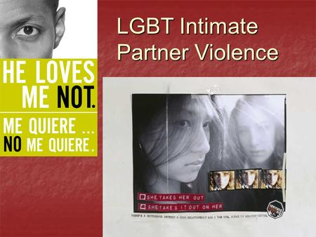 "LGBT Intimate Partner Violence. ""Domestic violence is framed as something about male/female relationships, derived from sexism, not from a larger framework."