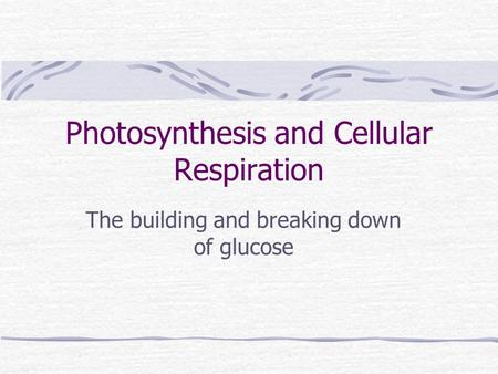 Photosynthesis and Cellular Respiration The building and breaking down of glucose.