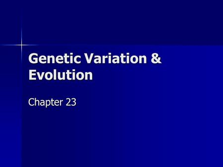 Genetic Variation & Evolution Chapter 23. What you need to know! How mutation and sexual reproduction each produce genetic variation How mutation and.