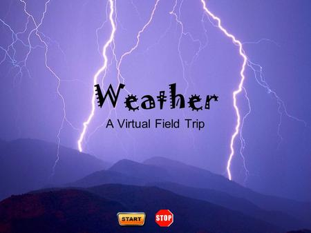 Weather A Virtual Field Trip. Teacher Resources (future option) Severe Weather What's a meteorologist? Climate vs. Weather The Water Cycle Clouds Welcome.
