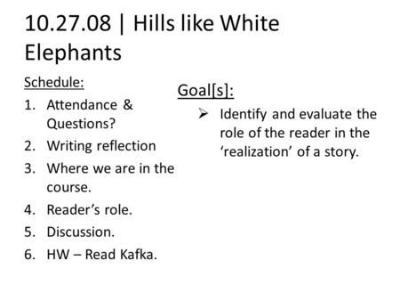 hills like white elephants analysis thesis