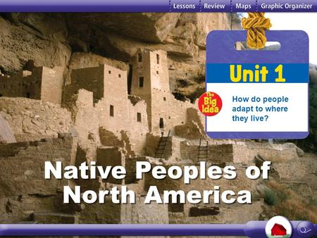 Unit 1 Native Peoples of North America How do people adapt to where they live? Native Peoples of North America.