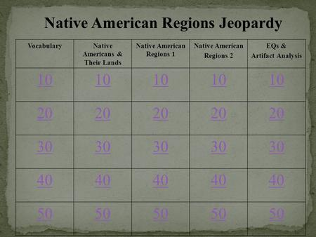 Native American Regions Jeopardy VocabularyNative Americans & Their Lands Native American Regions 1 Native American Regions 2 EQs & Artifact Analysis 10.