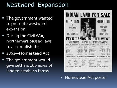 Westward Expansion  The government wanted to promote westward expansion  During the Civil War, northerners passed laws to accomplish this  1862—Homestead.
