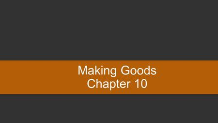 Making Goods Chapter 10. You can type your own categories and points values in this game board. Type your questions and answers in the slides we've provided.