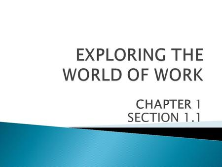 CHAPTER 1 SECTION 1.1.  WORK IS ANY USEFUL ACTIVITY.  INTERESTS ARE THE THINGS YOU LIKE TO DO.  SKILLS ARE THINGS YOU KNOW HOW TO DO.